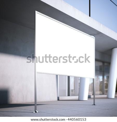 Blank billboard on the street near office building. 3d rendering - stock photo