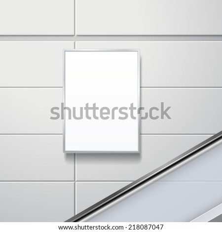 blank billboard on the wall in modern public space - stock photo