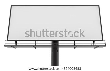 Blank billboard ready for new advertisement 3d render on white background - stock photo