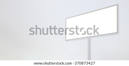 Blank billboard sign. Ready for new advertisement. Wide, white background. 3d render - stock photo