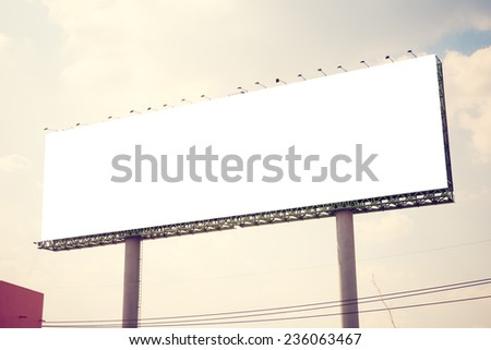 Blank billboard. Vintage filter. - stock photo