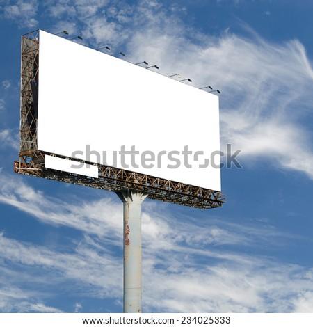 blank billboard with blue sky background - stock photo