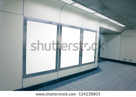Blank billboard with copy space in subway metro station (blue tone) , shot in Taipei, Taiwan, asia - stock photo