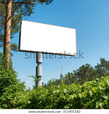 Blank billboard with empty space for advertising isolated on white - stock photo