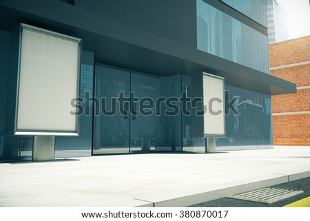 Blank billboards on sunny street in front of  business center, mock up 3D Render - stock photo
