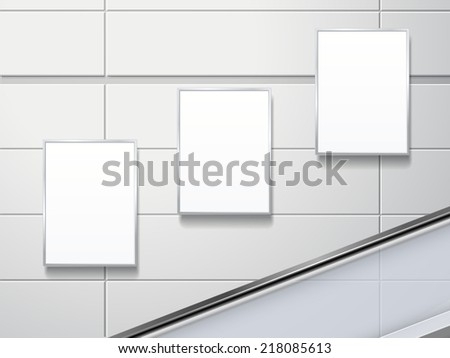 blank billboards on the wall in modern public space - stock photo