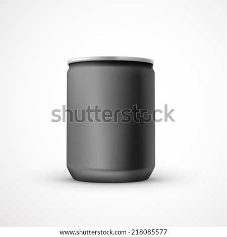 blank black aluminum can template isolated over white background - stock photo