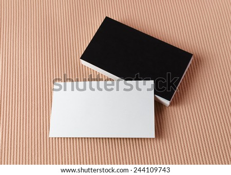 Blank black and white business cards. Template for branding identity. Top view. - stock photo