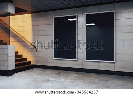Blank black billboards in empty subway hall, mock up 3D Render - stock photo