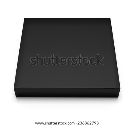 Blank black box top front view isolated on white background - stock photo