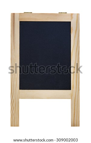 Blank black chalk board with wood frame isolated over white. With clipping path. - stock photo
