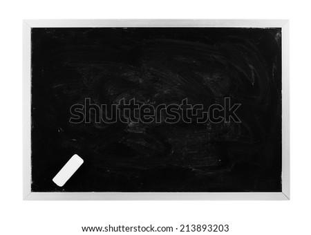 Blank black chalkboard isolated - stock photo
