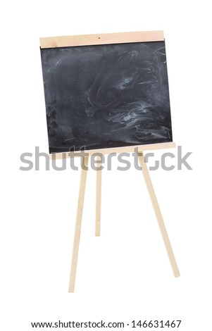 Blank black chalkboard with three legs isolated on white background. - stock photo