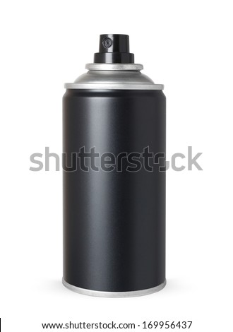 Blank black spray can, isolated on white background - stock photo