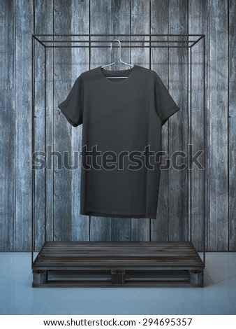 Blank black t-shirt on hanger. 3d rendering - stock photo