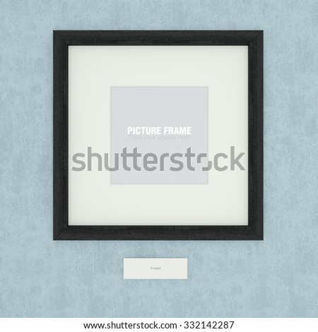 Blank black wooden picture frame on blue wall - stock photo