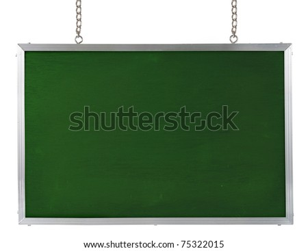 blank blackboard. isolated over white background - stock photo