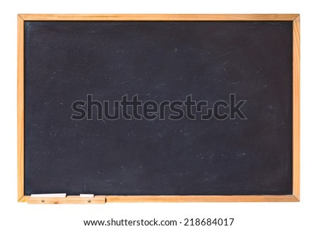 blank blackboard with wooden frame and chalk - empty chalkboard isolated with clipping path  - stock photo
