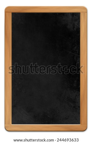 Blank blackboard with wooden frame isolated on white background - stock photo
