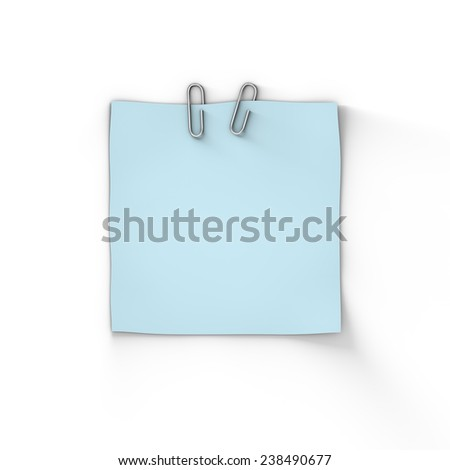 Blank Blue Adhesive Paper Note, 3D Illustration - stock photo