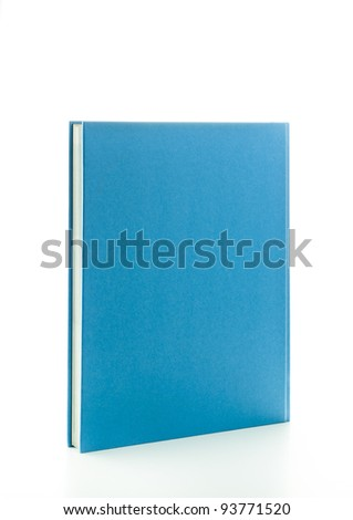 Blank blue book in upright position isolated on white - stock photo