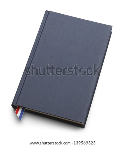 Blank blue book with copy space isolated on white background. - stock photo