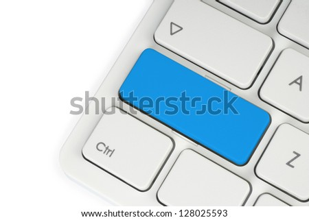 Blank blue button on the keyboard close-up - stock photo