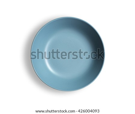 Blank blue dish isolated on a white background. - stock photo