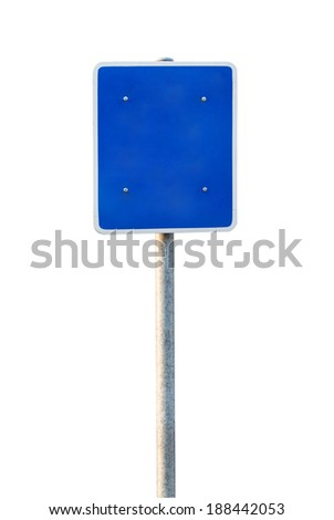 Blank Blue Road Sign Isolated on white background - stock photo