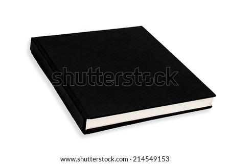 Blank book cover black isolated on white - stock photo