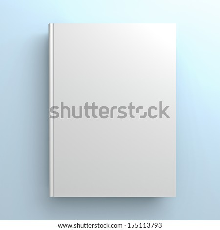 Blank book cover on blue background - stock photo