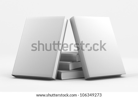 Blank book cover white isolated - stock photo