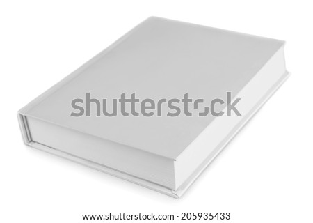 Blank book isolated on white - stock photo