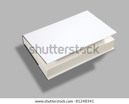 Blank book open cover white w clipping path - stock photo