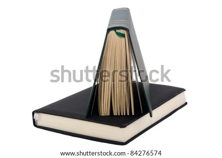 Blank book with bookmark isolated in white background - stock photo