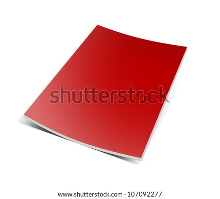Blank book with red cover on white background. - stock photo