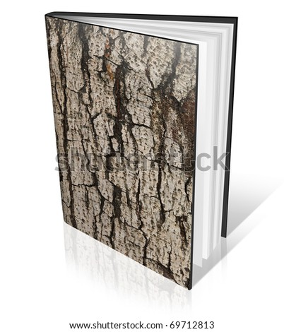 Blank book with wood textur cover on white background - stock photo