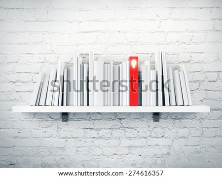 blank books on a shelf and one with idea cover. 3d rendering - stock photo