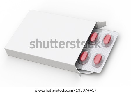 Blank box of red pills on white background - stock photo