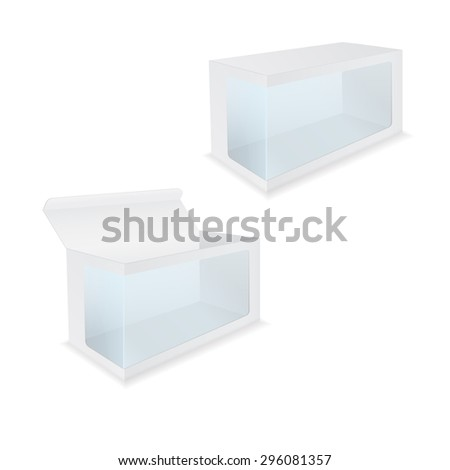 Blank Box with Transparent Window.  Illustration isolated on white background. Raster version - stock photo