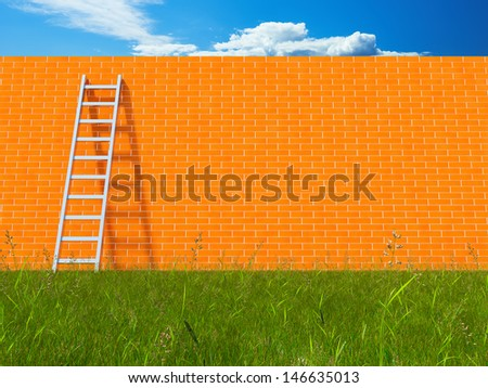 Blank brick wall with ladder on field - stock photo
