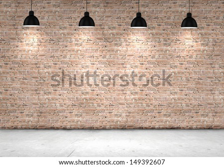 Blank brick wall with place for text illuminated by lamps above - stock photo