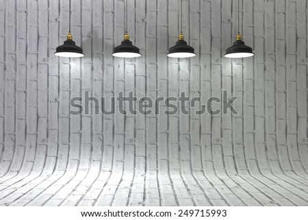 Blank brick wall with place for text illuminated by lamps above,3d Illustration - stock photo