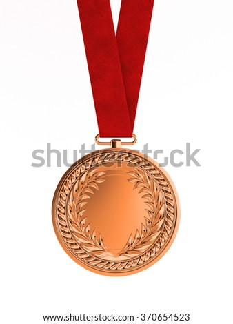 Blank bronze medal with ribbon for third place championship isolated on white background - stock photo