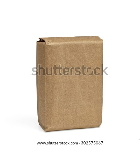 Blank brown craft paper bag isolated on white background  - stock photo