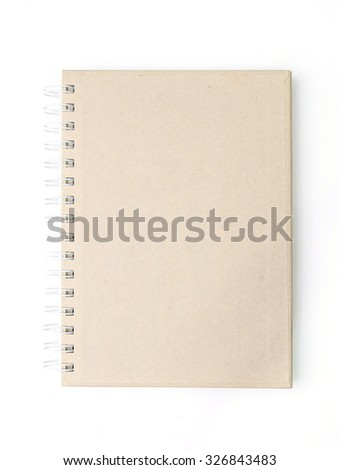 Blank brown notebook cover on white background - stock photo