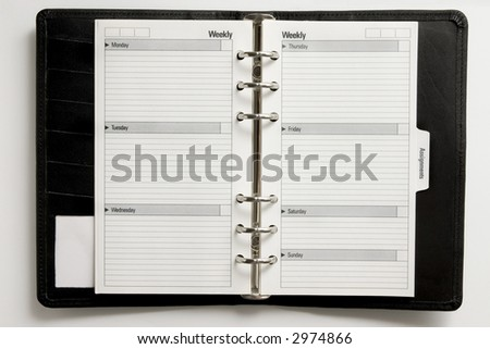 Blank business agenda  ready for writing - stock photo