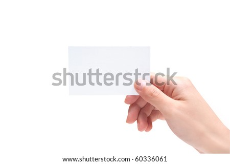 Blank Business Card In Hand - stock photo