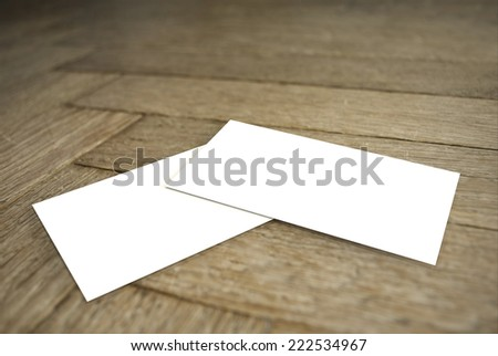 Blank Business Card on Wood - stock photo