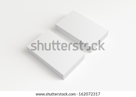 Blank Business Cards isolated on white with soft shadows - stock photo